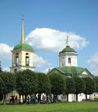 House church and belltower. In the name of the Origin of fair trees of Life-giving Cross gospodnja - Vsemilostivogo Spasa in ancient manor Sheremetev Kuskovo's stock photography