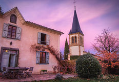 House and Church in Galan Stock Photos