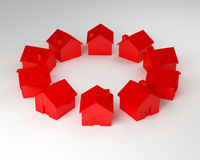 House circle. Large image 3d of red houses Royalty Free Stock Photo