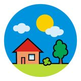 House at circle frame, tree and sun, vector icon Stock Photo