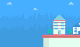 House with city background landscape. Vector art Royalty Free Stock Photos