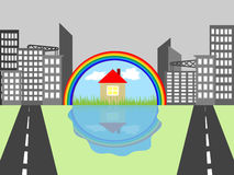 House in the city. House in colorful tones in the midst of the grey metropolis vector illustration