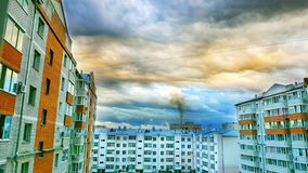 House of the city in Russian federation rainy. Cozy patio of brick houses in summer cloudy day city federation russian rainy stock image
