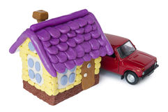 House from clay and car. Stock Photos