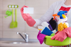 House cleaner with business card Stock Images