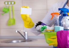 House cleaner with business card stock image