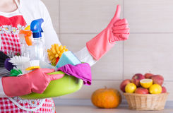House cleaner showing ok sign Stock Photos