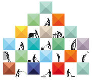 House cleaners. Illustration of a pyramid composed of colorful squares containing mannequins each undertaking a job in and around the home , sweeping, vacuuming Stock Photography