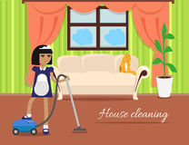House Cleaning Banner. Girl with hoover in uniform make cleaning in house. Cleaning service, house cleaning service, housework, home cleaning, domestic Stock Image