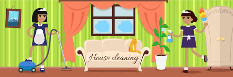 House Cleaning Banner. Two girls in uniform make cleaning in house. Cleaning service, clean house, house cleaning service, housework, home cleaning, domestic Royalty Free Stock Image