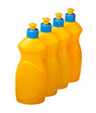 House cleaning bottles row Royalty Free Stock Photos