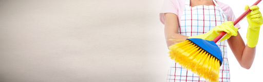 House cleaning with broom Stock Photography