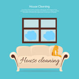 House Cleaning. Cat on Sofa Design Flat. Clean house service, housework and home cleaning, domestic cleaning service, clean room vector illustration Royalty Free Stock Photo