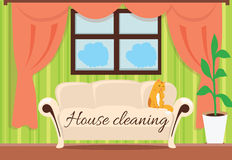 House Cleaning. Cat on Sofa Design Flat. House and cleaning, cleaning service, clean house, house cleaning service, housework and home cleaning, domestic Royalty Free Stock Photography