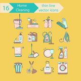 House cleaning color thin line vector icon set. Royalty Free Stock Images
