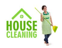 House Cleaning design with maid full length. House Cleaning design illustrated with full body portrait of a maid posing with a broom stick, isolated on white royalty free stock photos