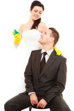 House cleaning duty in marriage. Stock Photos