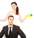 House cleaning duty in marriage. Stock Images