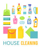 House cleaning hygiene and products flat vector icons set Royalty Free Stock Photography