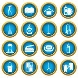 House cleaning icons blue circle set. Isolated on white for digital marketing Stock Photo