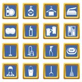 House cleaning icons set blue. House cleaning icons set in blue color isolated vector illustration for web and any design Royalty Free Stock Images