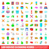100 house cleaning icons set, cartoon style Stock Photography
