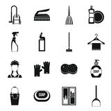 House cleaning icons set, simple style Stock Photos