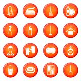 House cleaning icons vector set Stock Images