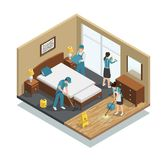 House Cleaning Isometric Composition Stock Images