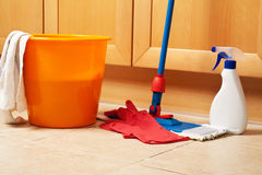 House cleaning with the mop. Sponge, gloves royalty free stock images