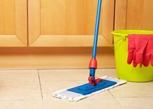 House cleaning with the mop Royalty Free Stock Photography