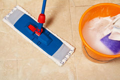 House cleaning with the mop Royalty Free Stock Images