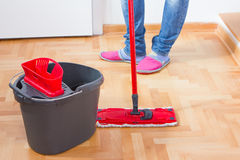 House Cleaning. House mopping and cleaning floor Stock Photography