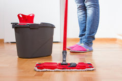 House Cleaning. House mopping and cleaning floor Stock Photos