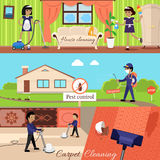 House Cleaning and Pest Control. And cleaning carpet, housework and cleaner service, domestic cleaning work, housekeeping wash and cleaning, washing and Stock Image