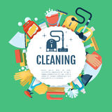 House cleaning poster. Vector home services template with household supplies icons Royalty Free Stock Photography