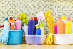 House cleaning product in the kitchen room. Close up stock photography