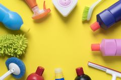 Free House Cleaning Product On Yellow Background Stock Image - 100822501