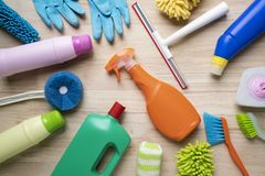 House cleaning product on wood table Royalty Free Stock Photos