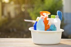 House cleaning product on wood table. Close up Royalty Free Stock Images