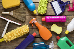 House cleaning product on wood table. Close up stock photos
