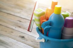 House cleaning product on wood table stock images