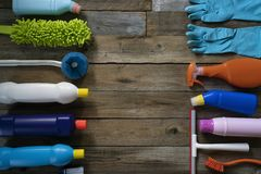 House cleaning product on wood table stock photography