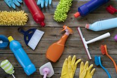 House cleaning product on wood table stock photos