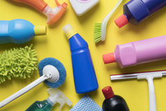 House cleaning product on yellow background. Top view Royalty Free Stock Photos