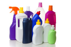 House cleaning products. Multiple house cleaning products isolated on white Stock Photo
