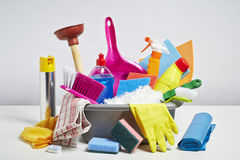 House cleaning products pile on white background. House cleaning products pile. Household chore concept on white background