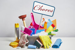 House cleaning products pile on white background Stock Photography