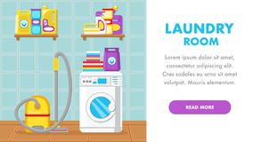 House Cleaning Service Landing Page Flat Template vector illustration