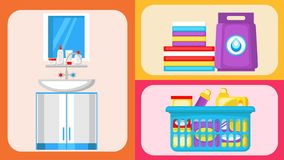 House Cleaning Supplies Flat Illustrations Set royalty free illustration